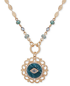 "lonna & lilly Gold-Tone Pavé, Stone & Bead Evil Eye 2-in-1 18"" Pendant Necklace"