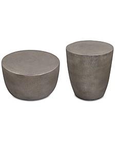 Nova Metal Table 2-Pc. Set (Drum Coffee Table & Drum End Table)