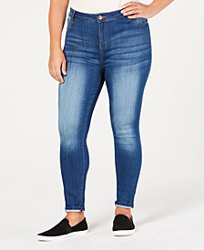 Celebrity Pink Trendy Plus Size Cuffed Ankle Jeans