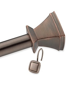 Square Decorative Shower Rod and Hooks Set - Oil Rubbed Bronze