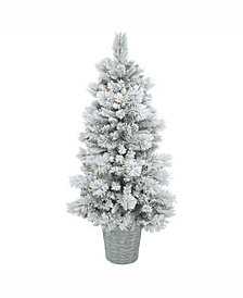 5' Potted Flocked Ashton Pine Artificial Christmas Tree with 150 Warm White Lights