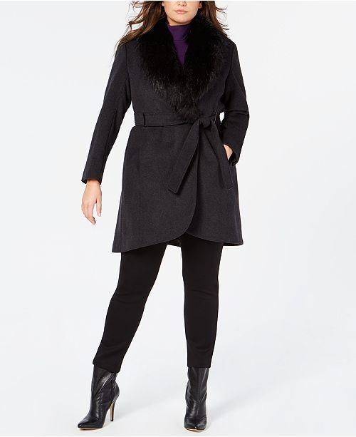 7e39df5259a Calvin Klein Plus Size Faux-Fur-Collar Belted Coat   Reviews - Coats ...