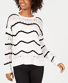 Freshmen Juniors' Pointelle Striped Sweater