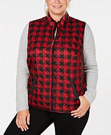 Karen Scott Plus Size Plaid Puffer Vest, Created for Macy's