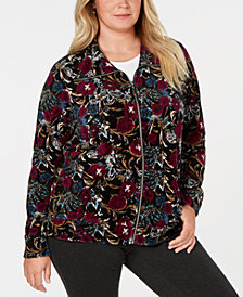 Karen Scott Plus Size Floral-Print Jacket, Created for Macy's