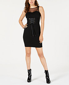 GUESS Rosita Illusion Lace-Up Bodycon Dress