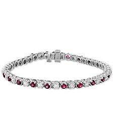 EFFY® Certified Ruby (3 ct. t.w.) & Diamond (2-1/6 ct. t.w.) Bracelet in 14k White Gold