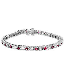 EFFY® Certified Ruby (3 ct. t.w.) & Diamond (2-1/6 ct. t.w.) Bracelet in 14k White Gold