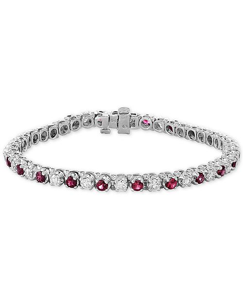 EFFY Collection EFFY® Certified Ruby (3 ct. t.w.) & Diamond (2-1/6 ct. t.w.) Bracelet in 14k White Gold