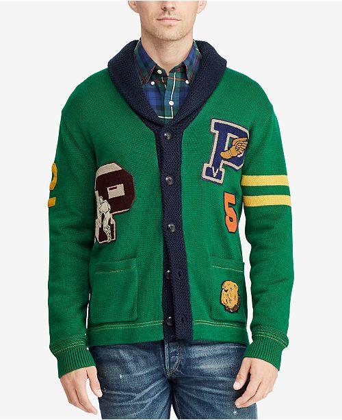 a11748ebd Polo Ralph Lauren Men s Letterman Cardigan   Reviews - Sweaters ...