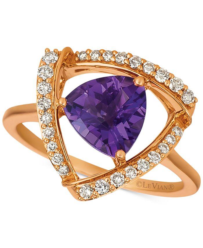 Le Vian - Grape Amethyst (1-5/8 ct. t.w.) & Vanilla Diamond (1/4 ct. t.w.) Statement Ring in 14k Rose Gold