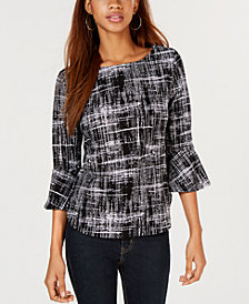 BCX Juniors' Printed Bell-Sleeve Top