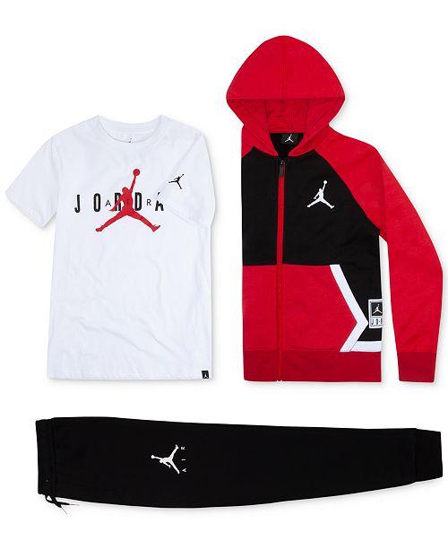 25f82af1af2 Jordan Big Boys Tricot Jacket, Jumpman-Print T-Shirt & Tricot Jogger Pants