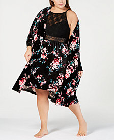 I.N.C. Plus Size Printed Velvet Wrap Robe, Created for Macy's