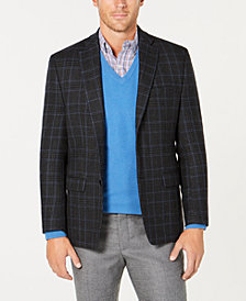 Lauren Ralph Lauren Men's UltraFlex Classic/Regular Fit Stretch Charcoal/Blue Plaid Wool Sport Coat