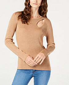 I.N.C. Petite Teardrop-Cutout Sweater, Created for Macy's