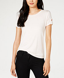 Maison Jules Striped Bow-Trimmed T-Shirt, Created for Macy's