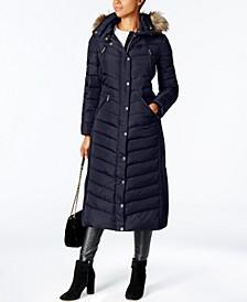 Faux-Fur Trim Hooded Down Coat