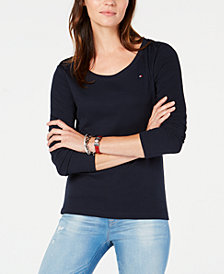 Tommy Hilfiger Cotton Scoop-Neck Top, Created for Macy's