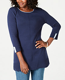 Karen Scott Cotton Colorblocked 3/4-Sleeve Sweater, Created for Macy's