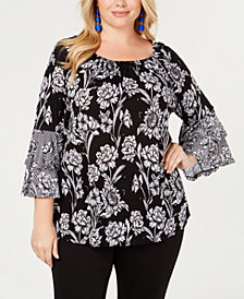 I.N.C. Plus Size Bell-Sleeve Peasant Top, Created for Macy's