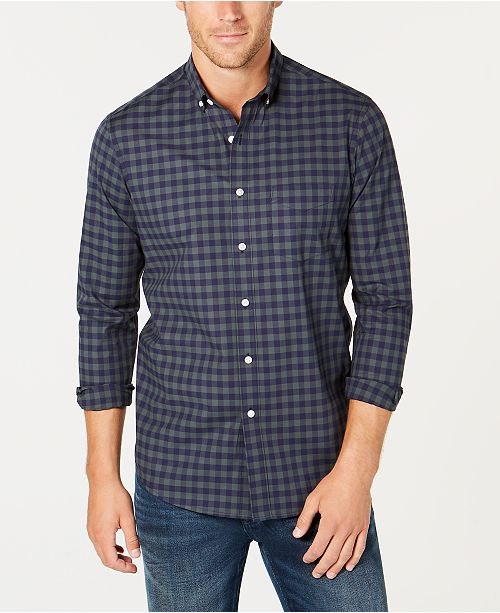 Club Room Men's Stretch Gingham Shirt, Created for Macy's