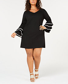 Love Squared Trendy Plus Size Ruffle-Sleeve A-Line Dress
