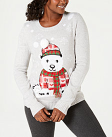 Karen Scott Petite Appliqué Bear-Graphic Sweater, Created for Macy's