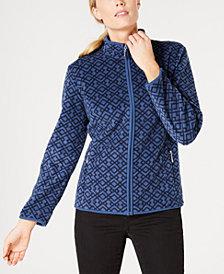 Karen Scott Casual Lattice-Print Zip-Front Jacket, Created for Macy's