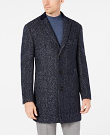 Tallia Men's Slim-Fit Herringbone Overcoat