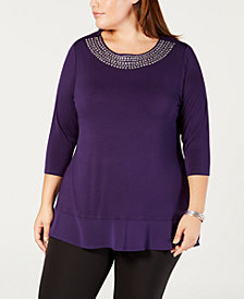 Belle by Belldini Plus Size Studded Chiffon-Hem Tunic