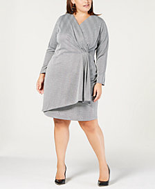 NY Collection Plus & Petite Plus Size Faux-Wrap Dress