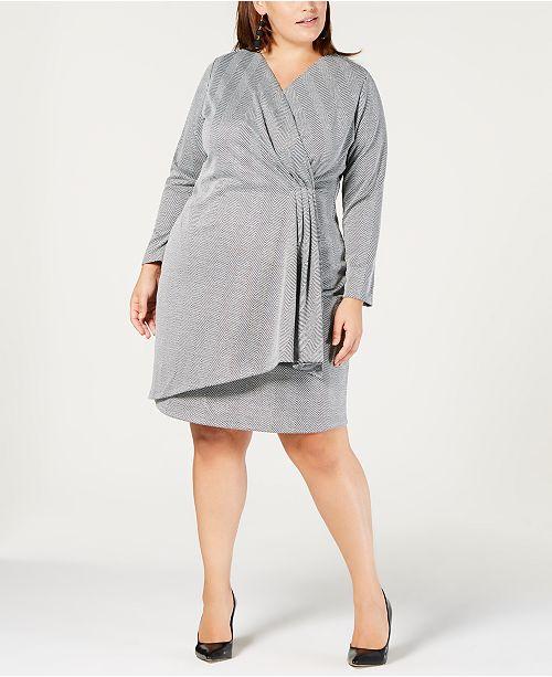 NY Collection Plus & Petite Plus Size Faux-Wrap Dress ...