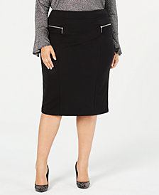MICHAEL Michael Kors Plus Size Zipper-Trim Pencil Skirt