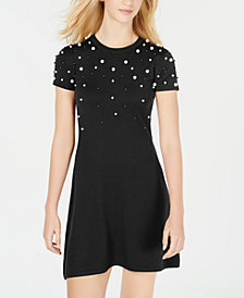 Planet Gold Juniors' Embellished Sweater Dress