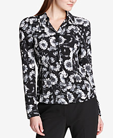 Tommy Hilfiger Printed Mixed-Media Button-Front Shirt