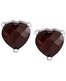 Rhodolite Garnet Heart Stud Earrings (3-1/2 ct. t.w.) in Sterling Silver