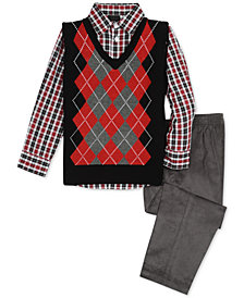TFW Little Boys 3-Pc. Argyle Sweater Vest, Shirt & Pants Set
