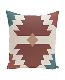 16 Inch Rust and Blue Decorative Geometric Throw Pillow