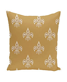 16 Inch Gold and Mid Brown Decorative Floral Throw Pillow