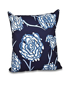 Spring Floral 2 16 Inch Navy Blue and Blue Decorative Floral Throw Pillow