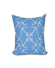 Anchor's Up 16 Inch Mid Blue Decorative Nautical Throw Pillow