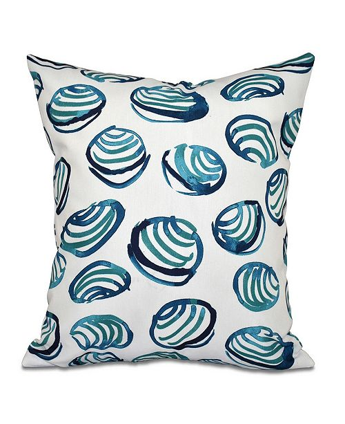 E by Design Clams 16 Inch Teal Decorative Coastal Throw Pillow
