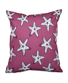 Soft Starfish 16 Inch Purple and Blue Decorative Coastal Throw Pillow