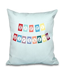 Happy Birthday 16 Inch Aqua Decorative Birthday Word Print Throw Pillow
