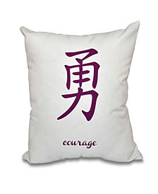 Courage 16 Inch Purple Decorative Word Print Throw Pillow