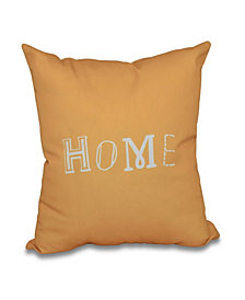 Home 16 Inch Yellow Decorative Word Print Throw Pillow