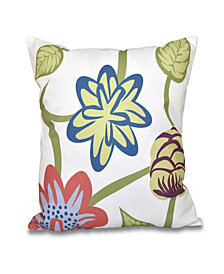 Tropical Floral 16 Inch Coral Decorative Floral Throw Pillow