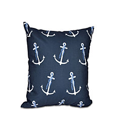 Anchor Whimsy 16 Inch Navy Blue Decorative Nautical Throw Pillow