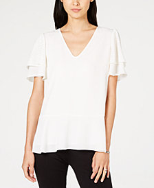 MICHAEL Michael Kors Tiered Embellished-Sleeve Top, In Regular & Petite Sizes